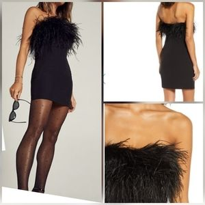 Bardot Strapless Feather Neck Cocktail Dress